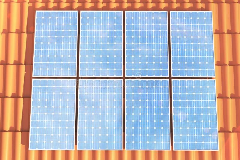 Sonnenkollektoren der Illustration 3D auf einem roten roff, Stromerzeugungstechnologie Alternative Energie Solarbatteriefeldmodul lizenzfreie abbildung