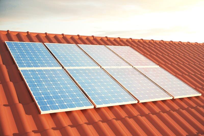 Sonnenkollektoren der Illustration 3D auf einem roten roff, Stromerzeugungstechnologie Alternative Energie Solarbatteriefeldmodul stock abbildung