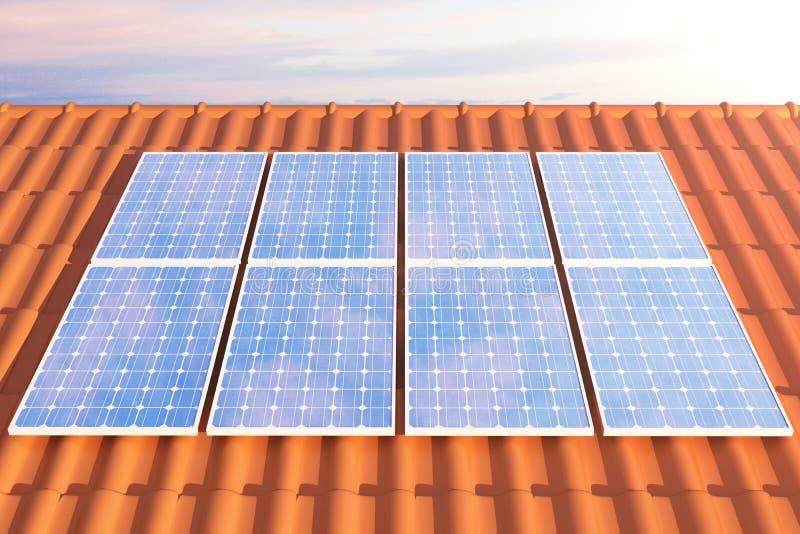 Sonnenkollektoren der Illustration 3D auf einem roten roff, Stromerzeugungstechnologie Alternative Energie Solarbatteriefeldmodul vektor abbildung