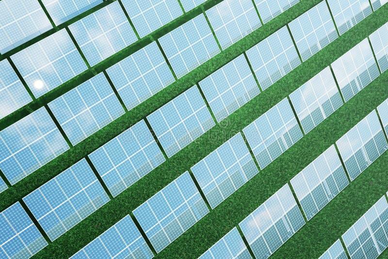 Sonnenkollektoren der Illustration 3D auf Himmelhintergrund Alternative saubere Energie der Sonne Energie, Ökologie, Technologie stock abbildung