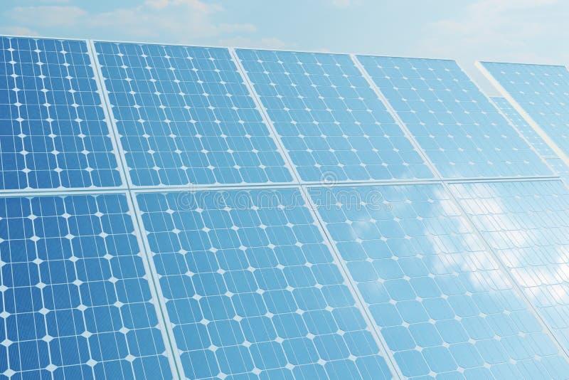 Sonnenkollektoren der Illustration 3D auf Himmelhintergrund Alternative saubere Energie der Sonne Energie, Ökologie, Technologie lizenzfreie abbildung