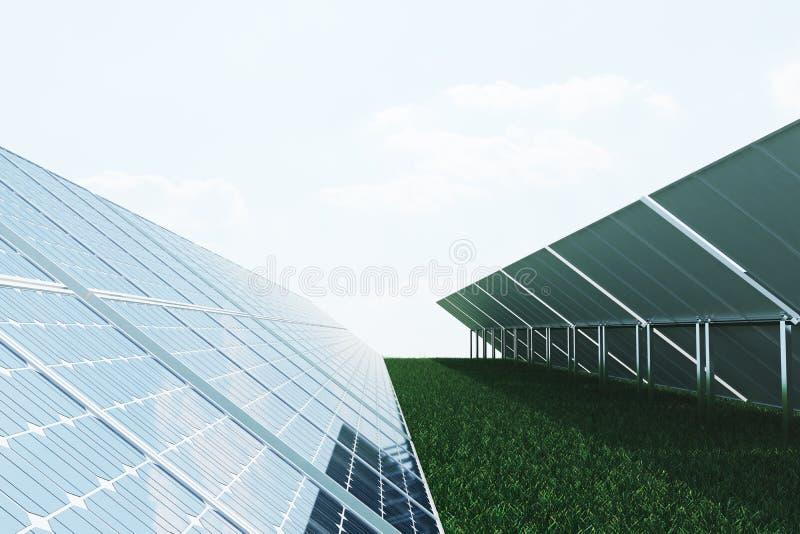 Sonnenkollektoren der Illustration 3D auf Himmelhintergrund Alternative saubere Energie der Sonne Energie, Ökologie, Technologie vektor abbildung