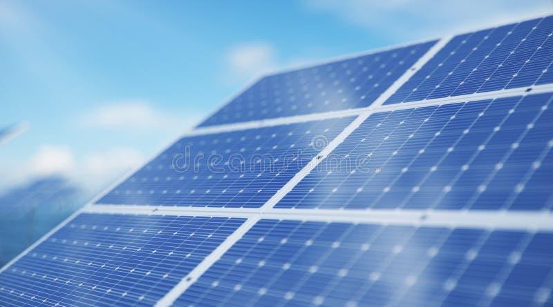 Sonnenkollektoren der Illustration 3D im Meer oder im Ozean Alternative Energie Konzept der erneuerbarer Energie ?kologisch, saub stockfoto