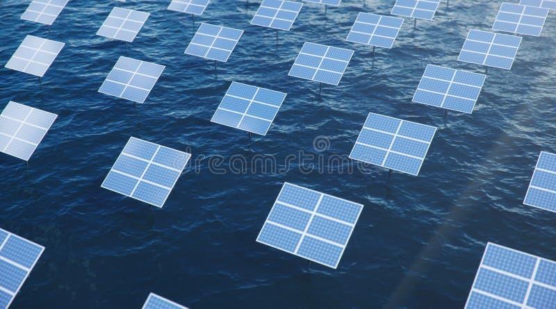 Sonnenkollektoren der Illustration 3D im Meer oder im Ozean Alternative Energie Konzept der erneuerbarer Energie ?kologisch, saub lizenzfreies stockfoto