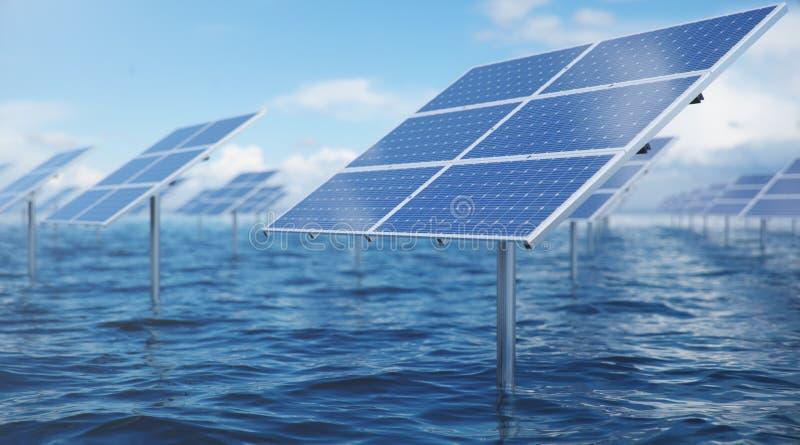 Sonnenkollektoren der Illustration 3D im Meer oder im Ozean Alternative Energie Konzept der erneuerbarer Energie ?kologisch, saub vektor abbildung