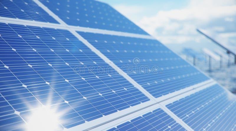 Sonnenkollektoren der Illustration 3D im Meer oder im Ozean Alternative Energie Konzept der erneuerbarer Energie ?kologisch, saub lizenzfreies stockbild