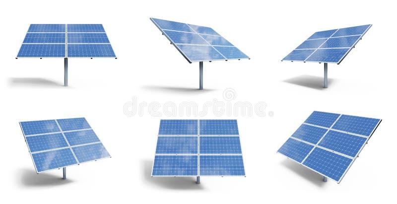 Sonnenkollektoren der Illustration 3D lokalisiert auf wei?em Hintergrund Stellen Sie Sonnenkollektoren mit sch?nem blauem Himmel  stock abbildung