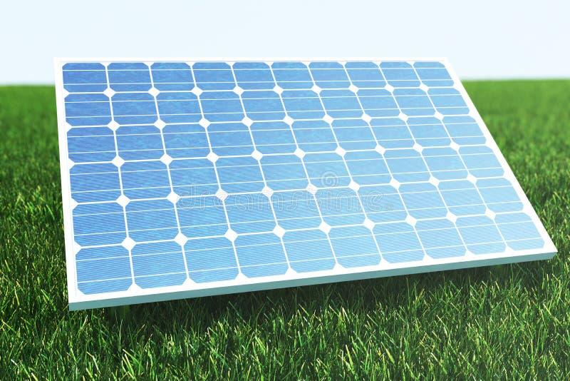 Sonnenkollektoren der Illustration 3D mit Wolken Energie und Strom Alternative Energie, eco oder grüne Generatoren leistung lizenzfreie abbildung
