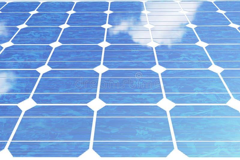 Sonnenkollektoren der Illustration 3D mit Wolken Energie und Strom Alternative Energie, eco oder grüne Generatoren leistung stock abbildung