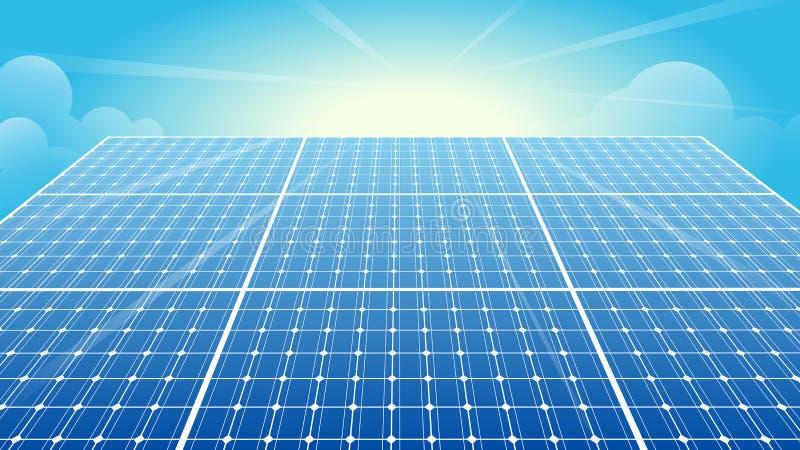 Sonnenkollektoren, Solarenergie, Sun, blauer Himmel stock abbildung