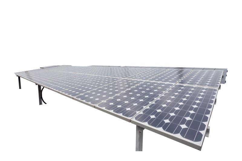 Sonnenkollektoren, Windkraftanlagen auf weißem Hintergrund, natürliche Energie lizenzfreie stockfotos