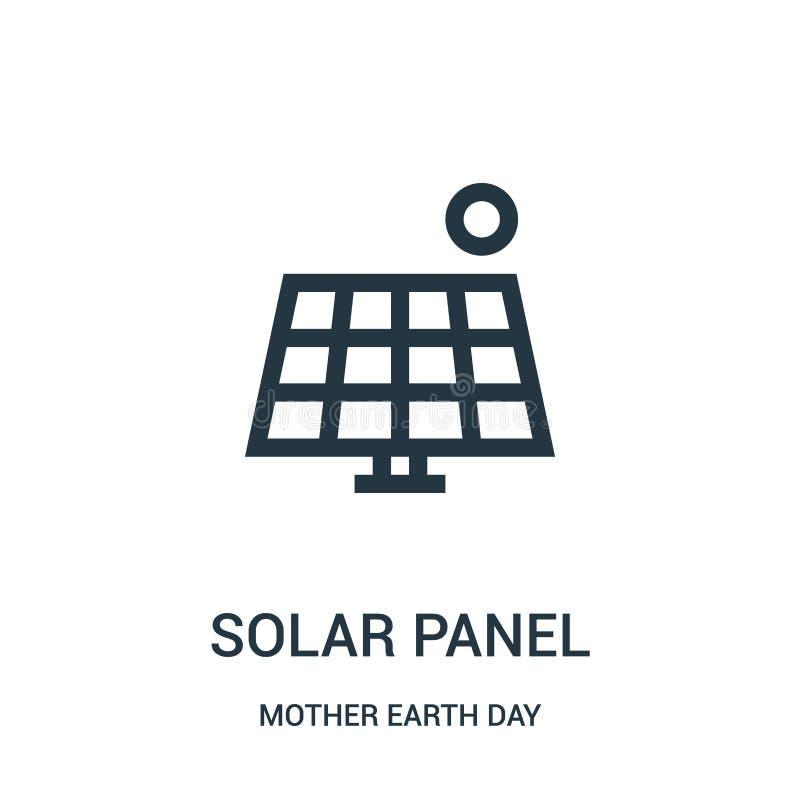 Sonnenkollektorikonenvektor von der Mutter Erden-Tagessammlung Dünne Linie Sonnenkollektorentwurfsikonen-Vektorillustration lizenzfreie abbildung