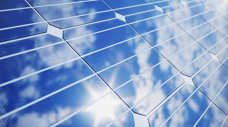 Sonnenkollektornahaufnahme der Illustration 3D Alternative Energie Konzept der erneuerbarer Energie ?kologische, saubere Energie  stockbilder