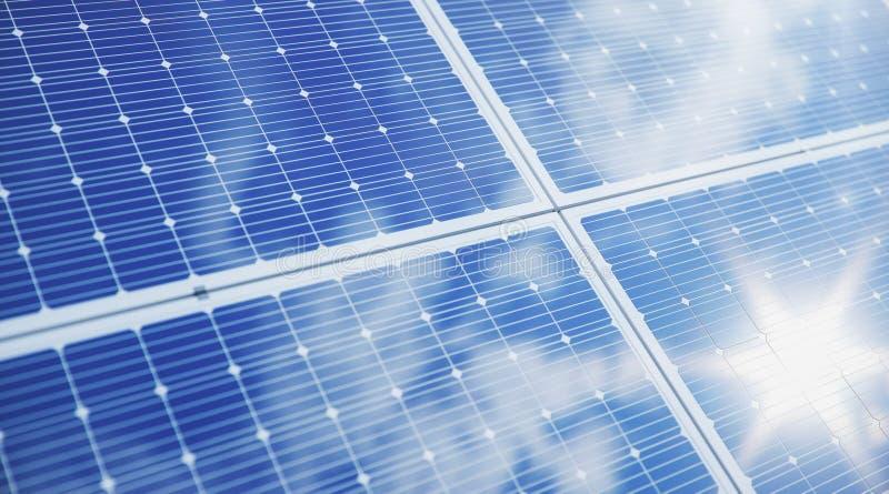 Sonnenkollektornahaufnahme der Illustration 3D Alternative Energie Konzept der erneuerbarer Energie ?kologische, saubere Energie  lizenzfreies stockfoto