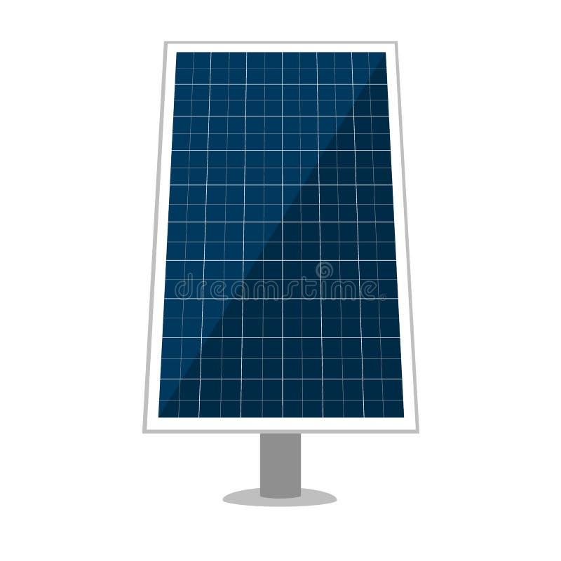Sonnenkollektorvektorentwurf von Sonnenenergiemodulen, eco Machtbatterien mit photo-voltaischen Solarzellen alternative lizenzfreie abbildung