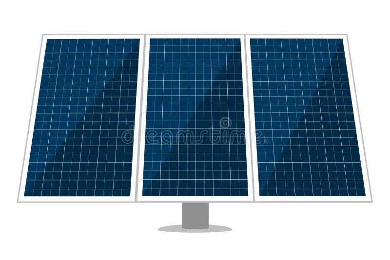 Sonnenkollektorvektorentwurf von Sonnenenergiemodulen, eco Machtbatterien mit photo-voltaischen Solarzellen alternative stock abbildung