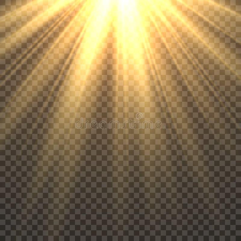 Sonnenlicht lokalisiert Sonnenstrahlnstrahlen Lichteffektes Sun goldenes Sonnenuntergang-Sonnenscheinillustration der gelben hell lizenzfreie abbildung