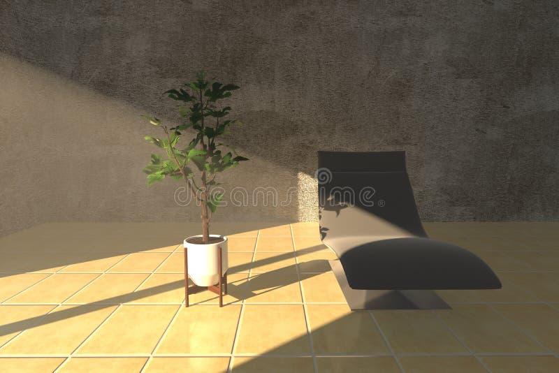 Sonnenlicht wirft auf einem Betriebsvase und einem bequemen Stuhl in einem Raum vektor abbildung