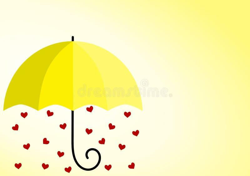 Sonnenschein-gelbe Regenschirm-Herzen vektor abbildung