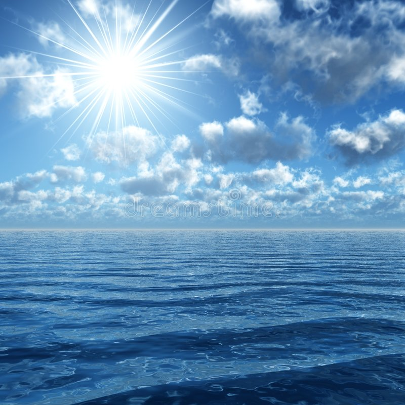 Sonnenschein nach dem Ozean lizenzfreie stockfotografie