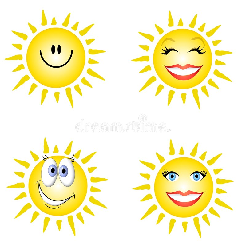 Sonnenschein-smiley-Gesichter stock abbildung