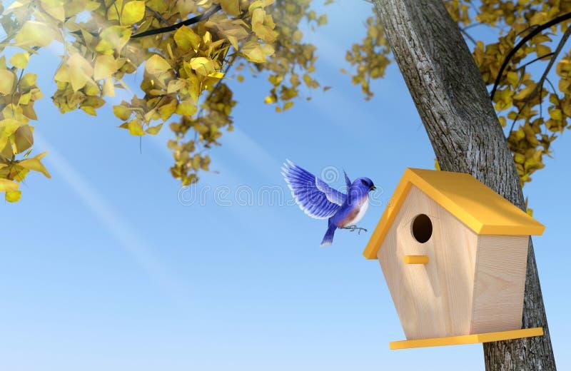 Sonnenscheinherbsttag mit klarem blauem Himmel, blaue Vogelverschachtelung im hölzernen Vogelhaus unter Gelbblattbaum lizenzfreies stockbild