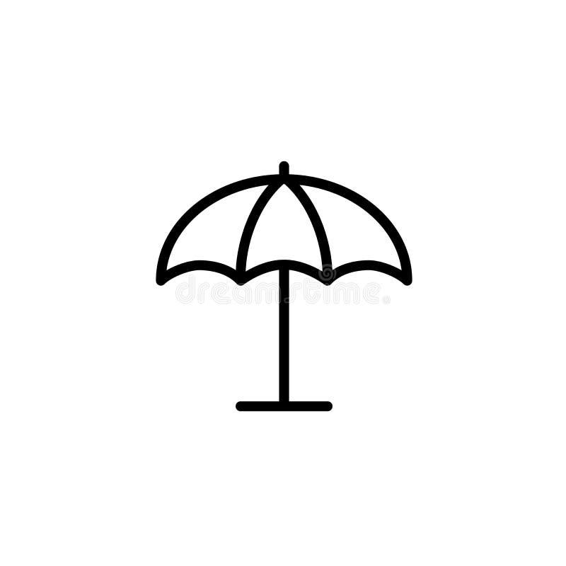 Sonnenschirm, dünne Linie Schwarzes der Regenschirmikone auf weißem Hintergrund lizenzfreie abbildung