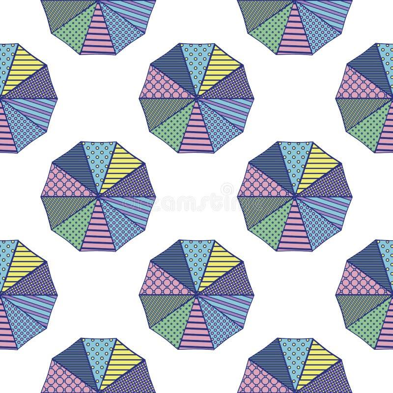 Sonnenschirme von oben genanntem mit geometrischen Entwürfen in einem sommerlichen Farbschema vektor abbildung