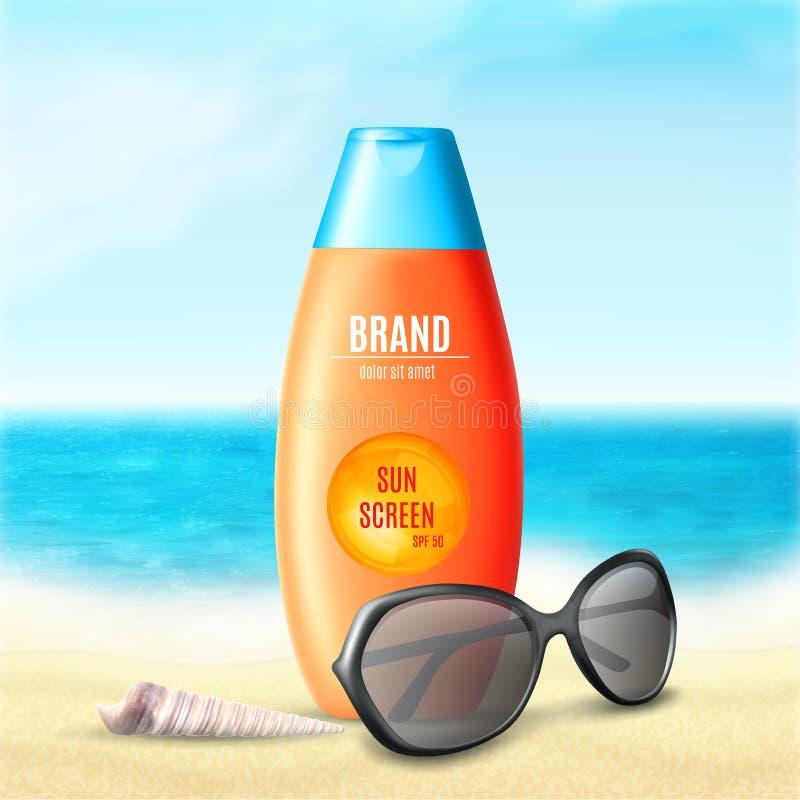 Sonnenschutzkosmetikprodukt lizenzfreie abbildung