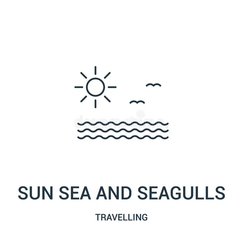 Sonnensee- und -seemöwenikonenvektor von reisender Sammlung Dünne Linie Sonnenmeer und Seemöwenentwurfsikonenvektorillustration stock abbildung