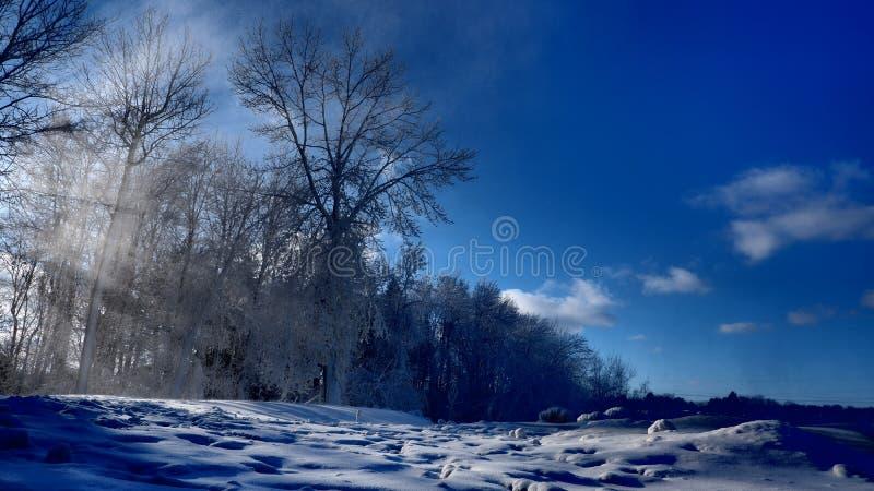 Sonnenstrahl durch eine Winterlandschaft stockfotografie