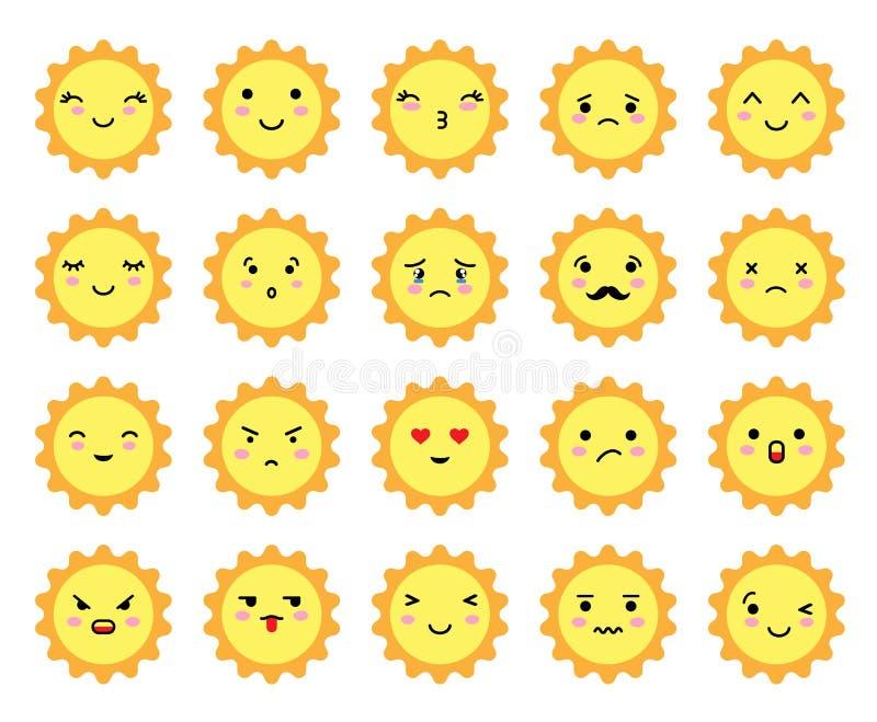 Sonnenstrahl Emoji mit unterschiedlicher Stimmung Kawaii cute sun emoticons und japanische anime emoji face expression stock abbildung