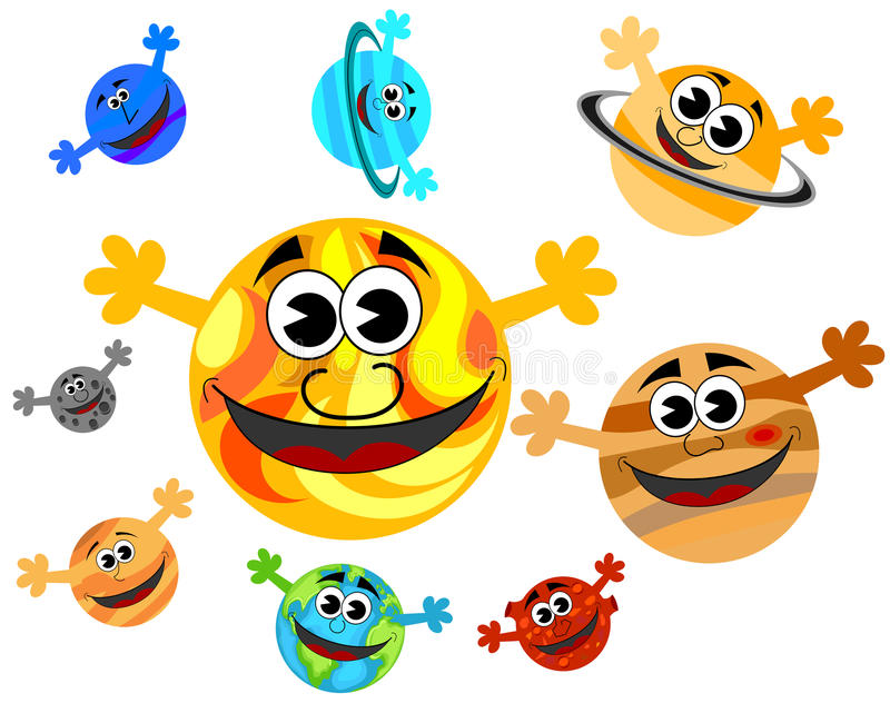 Sonnensystem-Karikatur-Planeten-Lächeln vektor abbildung