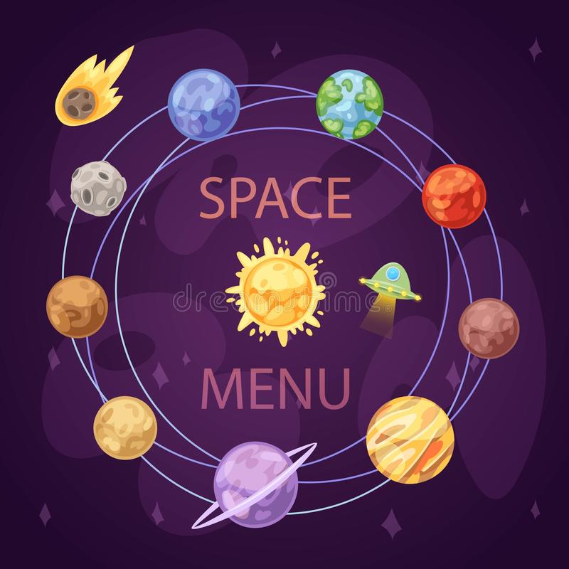 Sonnensystem mit Planeten, Raumschiff und Asteroidengürtel auf dunkler Hintergrundkarikatur-Vektorillustration Raum und stock abbildung