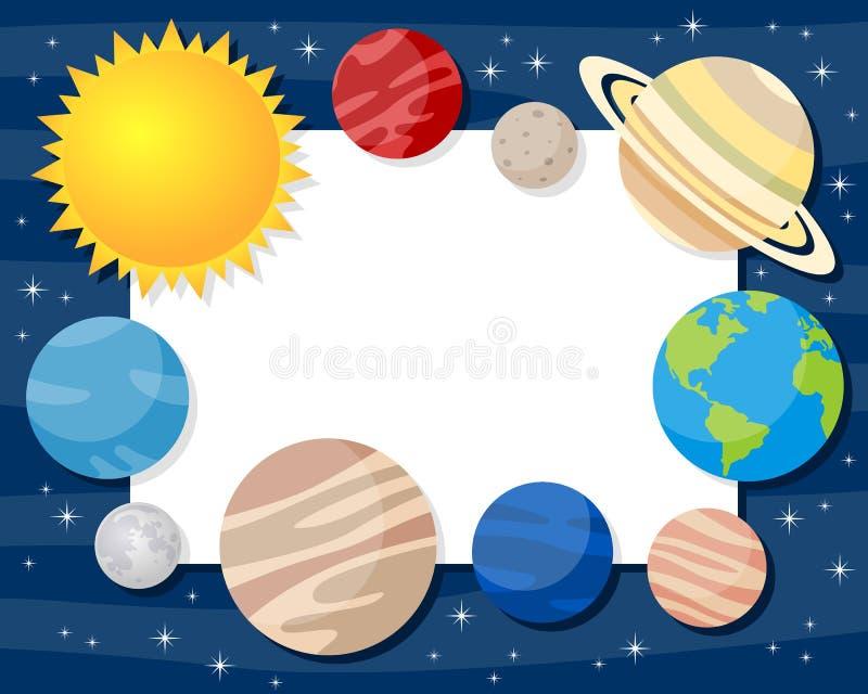 Sonnensystem-Planeten-horizontaler Rahmen stock abbildung