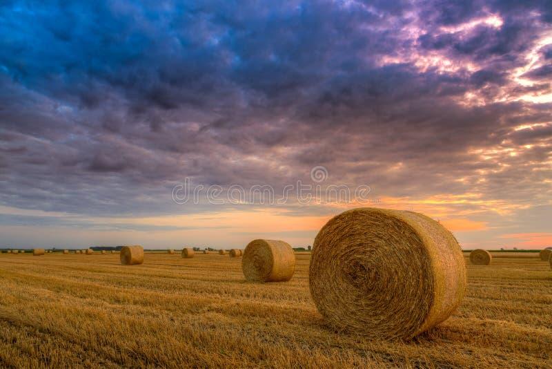 Sonnenuntergang über Bauernhoffeld mit Heuballen stockfoto