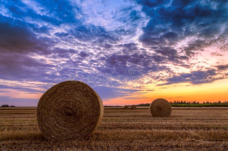 Sonnenuntergang über Bauernhoffeld mit Heuballen lizenzfreies stockfoto