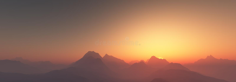 Sonnenuntergang über Bergen stockfotos