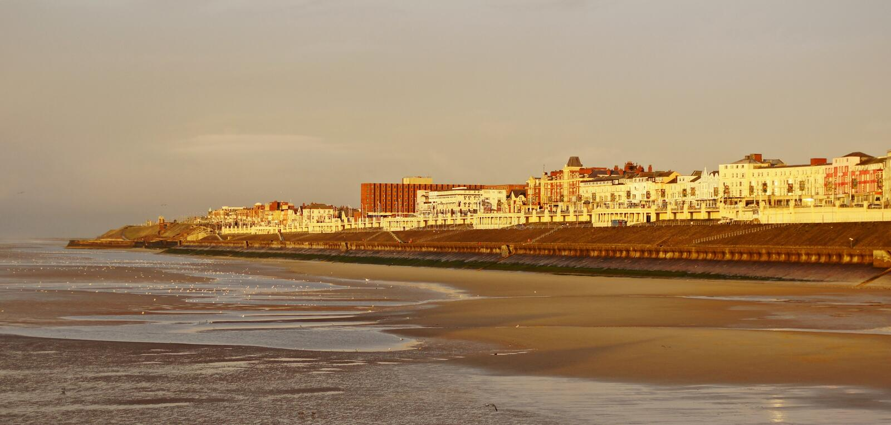 Sonnenuntergang über Blackpool-Ansicht stockfoto