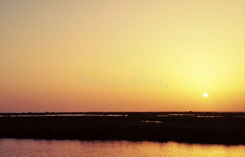 Sonnenuntergang über dem Bayou lizenzfreie stockfotos