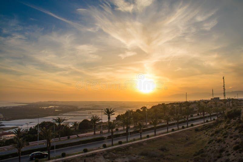 Sonnenuntergang über dem Gewächshaus, Almeria, Spanien stockfoto
