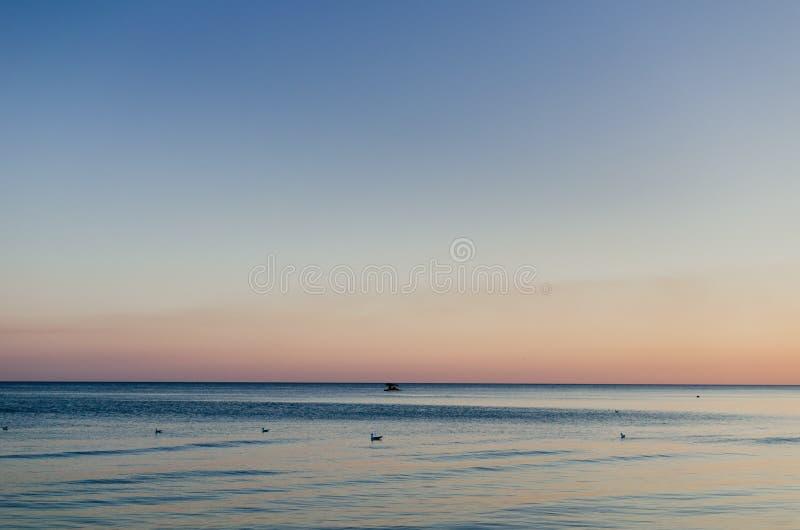 Sonnenuntergang über dem Meer mit Seemöwe und Boot Seem?we auf dem Meer stockfoto