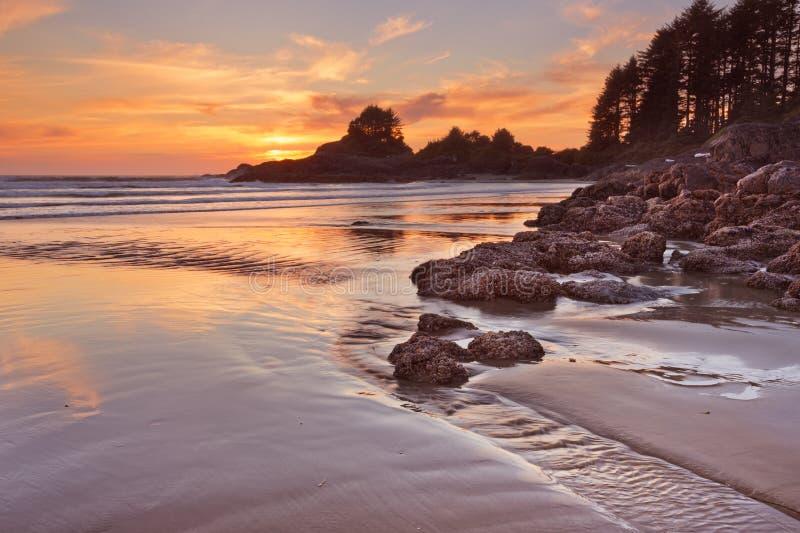 Sonnenuntergang über dem Strand von Cox-Bucht, Vancouver Island, Kanada lizenzfreies stockbild
