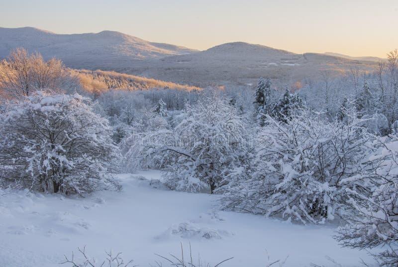 Sonnenuntergang über den Schnee-mit einer Kappe bedeckten Bergen stockfotografie
