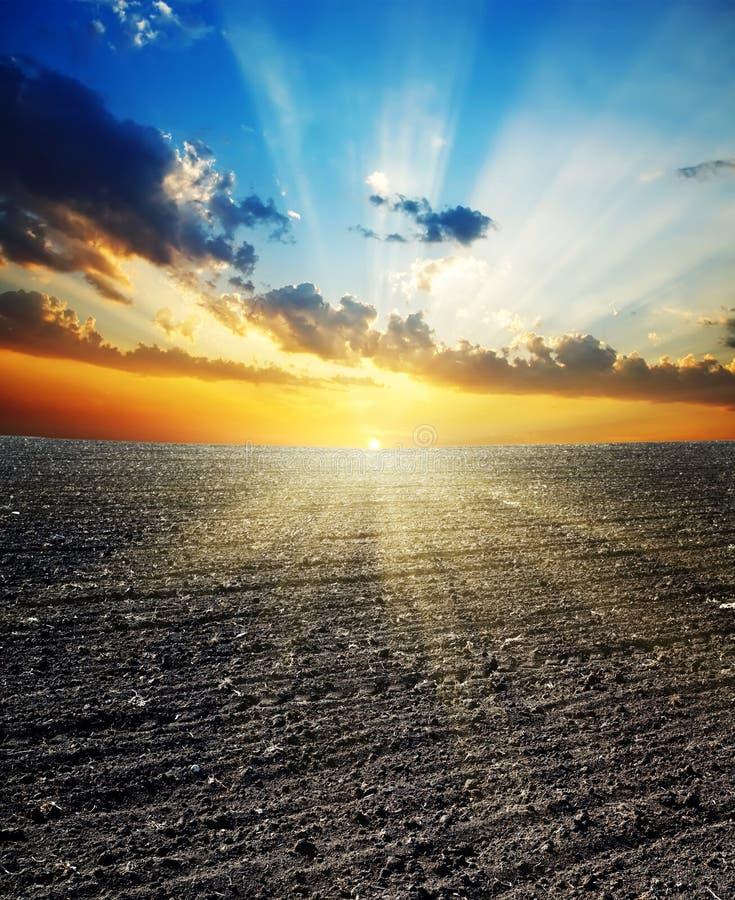 Sonnenuntergang über Feld lizenzfreies stockfoto
