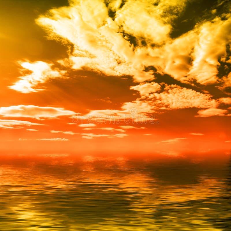 Sonnenuntergang über Ozean stockfotografie