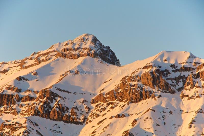 Sonnenuntergang, Ansicht von Spitze Pizzo Cefalone, Abruzzo, Italien lizenzfreie stockfotografie