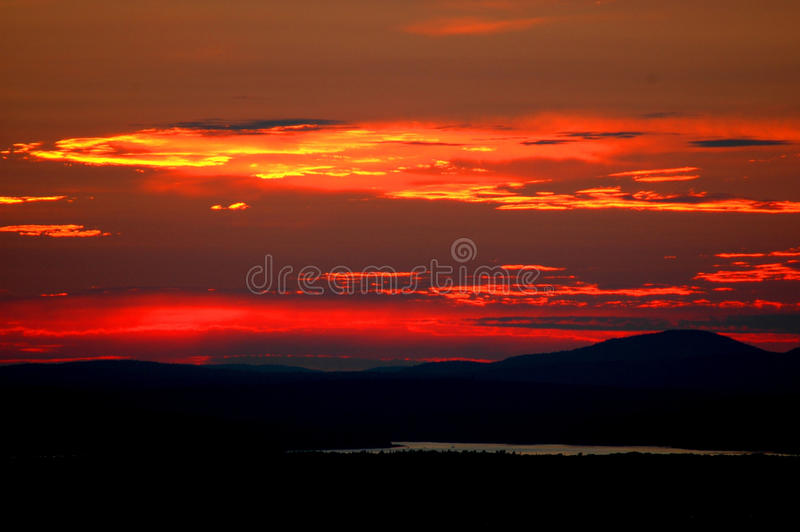 Sonnenuntergang am Arcadia-Nationalpark stockbild