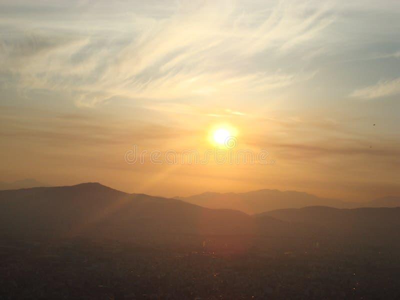 Sonnenuntergang in Athen stockbild