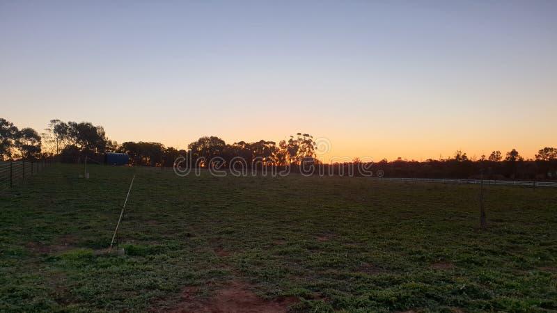 Sonnenuntergang auf Bauernhof stockfotografie